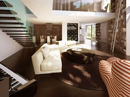 Vizualizace: obývací pokoj představuje otevřený obytný prostor, volně na něj