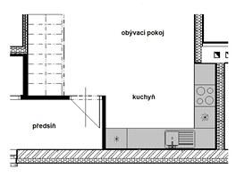 Původní půdorys: návrh kuchyňské sestavy do písmene L neumožnil umístit všechny