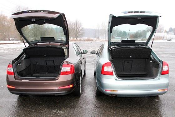Nalevo nová, vpravo stará octavia, rozdíl ve velikostech kufrů je pět litrů.