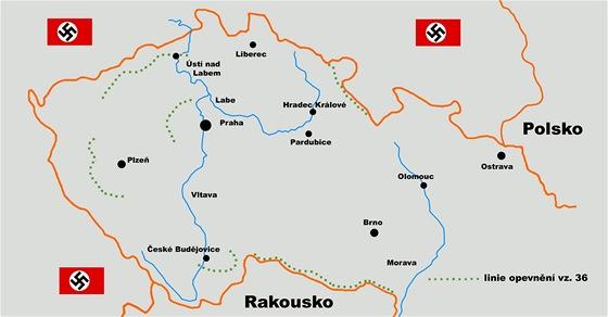 Mapa z�padn� ��sti �eskoslovenska s vyzna�en�m dokon�en�ch lini� LO vz. 36.