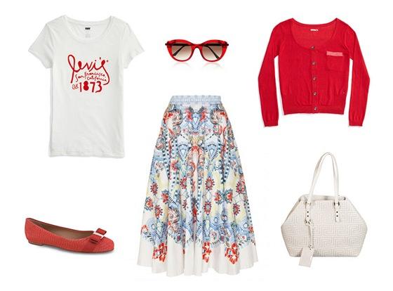 Sukně, Temperley London, prodává Obsession; tričko s potiskem, Levis; červené balerínky, Salvatore Ferragamo; červený svetřík, Levis; bílá prošívaná kabelka, Versace; sluneční brýle, Thierry Lasry