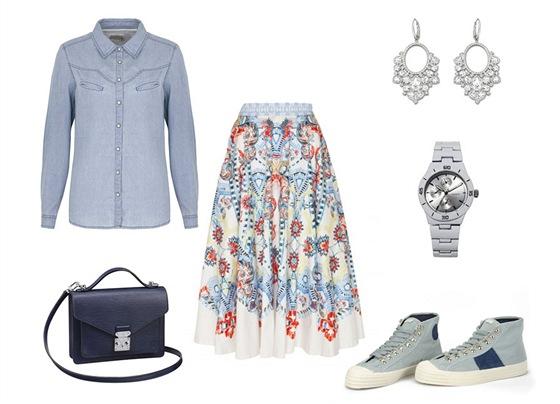 Sukně, Temperley London, prodává Obsession;džínová košile, Marks&Spencer; tmavě modrá kabelka, Louis Vuitton; křišťálové náušnice, Swarovski; hodinky, Ann Christine; kotníčkové tenisky, Novesta