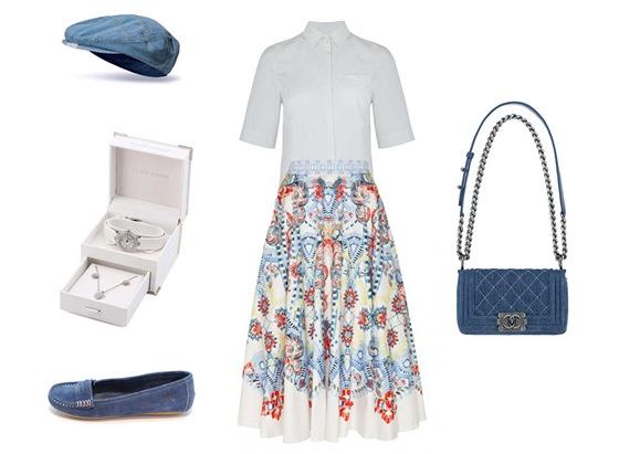 Sukně, Temperley London, prodává Obsession; bílá košile, Marks&Spencer; džínová čepice, New Yorker; sada hodinek a náhrdelníku, Pierre Cardin, prodává zoot.cz; modré mokasíny, Xti; denimová kabelka, Chanel