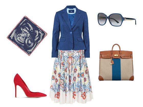 Sukně, Temperley London, prodává Obsession; modré sako, F&F; hedvábný šátek, Louis Vuitton; kabelka, Hermés; lodičky, Gianvito Rossi, prodává Obsession; kabelka, Hermés