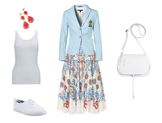 Sukně, Temperley London, prodává Obsession; světle modré sako, Gant; tílko, F&F; náušnice, Orsay; plátěné tenisky, CCC boty; kabelka, Jil Sander