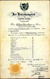 Einsteinovo maturitn� vysv�d�en�: �estka (nejlep�� zn�mka na �k�le 1 - 6) se