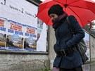 Plakáty Silvia Berlusconiho v Miláně (21. února 2013)