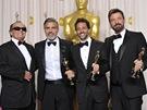 Oscar 2013 - herec Jack Nicholson a producenti vítězného filmu Argo George