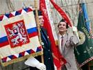 Shromáždění při výročí pochodu studentů na Pražský hrad v únoru 1948. (25.