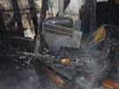 Vyhořelý rodinný dům ve Velkých Pavlovicích.