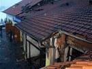 V obci Dyje na Znojemsku vyhořela prodejna zahradnických potřeb a vysokotlakých