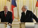 Václav Klaus na oficiální návštěvě Slovenska, kam 26. února zavítal na svou