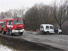 Řidič menší dodávky čelní srážku s nákladním autem převážejícím klády dřeva