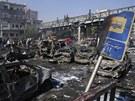 Zdevastovaná část Damašku, kde vybuchla nastražená nálož.