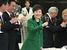 Jihokorejská prezidentka během slavnostního přípitku na recepci u příležitosti