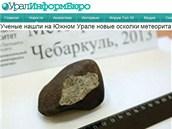 Dosud největší úlomek meteoritu, který ruští vědci našli v okolí Čeljabinsku