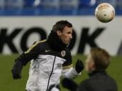 Sparťanský obránce Matěj Hybš na tréninku před odvetou s Chelsea.