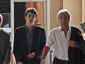 Alain Delon a jeho syn Alain-Fabien u soudu kvůli poručnictví (5. září 2010)