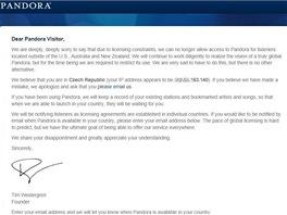 Pandora bez pou�it� dopl�ku Hola Unblocker
