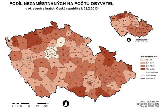 Mapa k nezaměstnanosti, únor 2013.