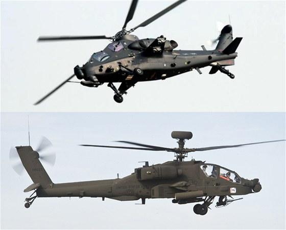 Čínský vrtulník WZ-10 a americký stroj AH-64 Apache