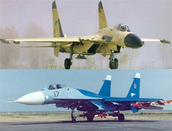 Čínský letoun J-11 a ruský stroj Su-27