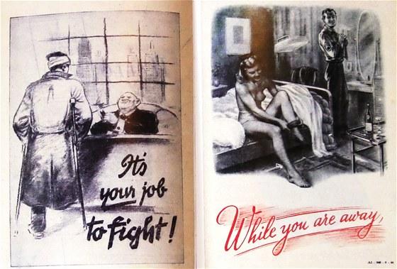 Dva oblíbené motivy německé propagandy zaměřené na nepřátelské vojáky. Ten