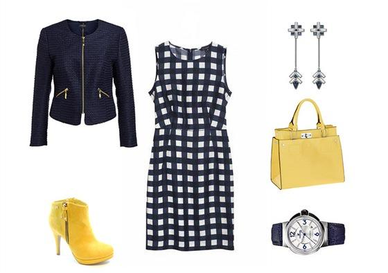 Kostkované šaty, Tara Jarmon, prodává Dušní3; sako se zipy, Lindex; žlutá