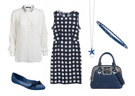 Kostkované šaty, Tara Jarmon, prodává Dušní3; košile se zdobeným límečkem,