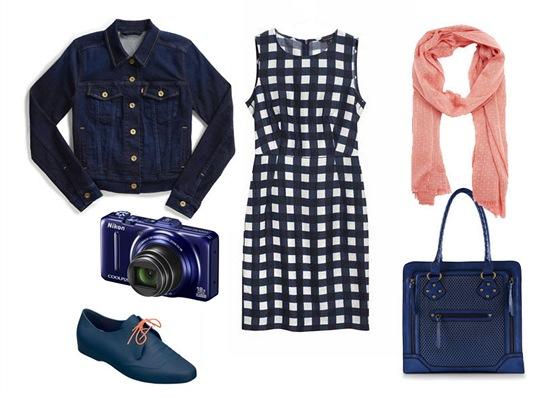 Kostkované šaty, Tara Jarmon, prodává Dušní3; džínová bunda, Levi's; šála s