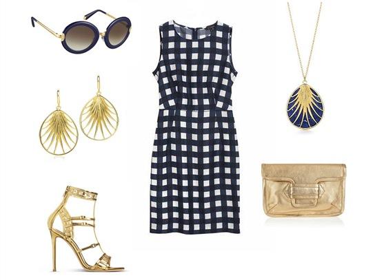 Kostkované šaty, Tara Jarmon, prodává Dušní3; tmavě modré brýle, Louis Vuitton;