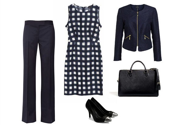 Kostkované šaty, Tara Jarmon, prodává Dušní3; tmavě modré sako se zipy, Lindex;