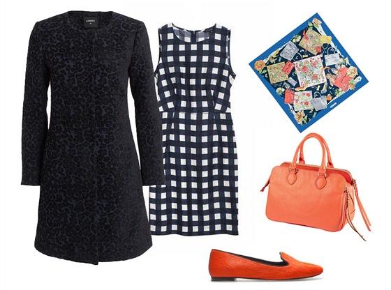 Kostkované šaty, Tara Jarmon, prodává Dušní3; tmavě modrý kabát, Lindex;