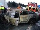 Nehoda na D1, kterou způsobil 17letý řidič ujíždějící policistům. (1. března