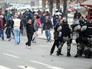 Násilné protesty ve Skopji.
