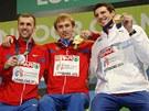 S MEDAILÍ. Jaroslav Bába (vpravo) na stupních vítězů po soutěži výškařů na