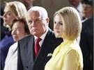 Václav Klaus a Kateřina Zemanová sledují projev nového prezidenta Miloše