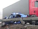 Vážná dopravní nehoda mezi kamionem Scania a osobním vozem Citröen Saxo u Velké...