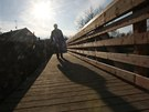 Aby se vůbec dalo přes most chodit, je přes něj položena provizorní lávka. Auta