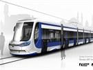 Nákres tramvaje Škoda 28T pro turecké město Konya.