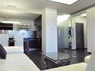Pánský byt je celý zařízen pouze v černobílé barevné kombinaci.