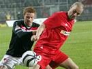 HRA TĚLEM. Brněnský útočník Petr Švancara (vpravo) si kryje míč před slávistou Marcelem Gecovem.
