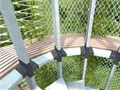 Tento návrh počítá s lehkou konstrukcí, po které by se pnuly rostliny.