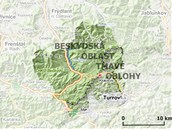 Mapka s Beskydskou oblast� tmav� oblohy na �esko-slovensk�m pomez�.