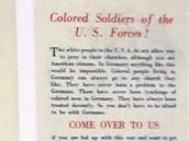 """Němci cílili letáky i na """"barevné"""" vojáky - vyzývali je k tomu, aby nebojovali"""