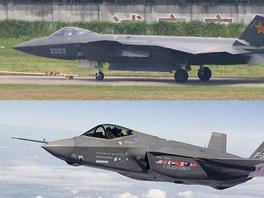 Čínský neviditelný stroj J-21 a letoun F-35 JSF