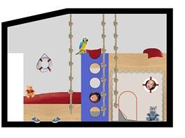 Palanda s částečným překrytím lůžek dovolí vytvořit pod horní postelí bunkr.