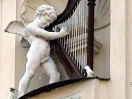 Socha andělíčka s ... harfou na domě Zlatá harfa v komplexu karlovarského