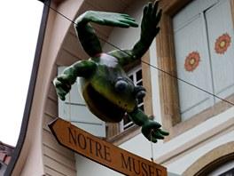V ulicích města mezi domy visí velké žáby, které poutají pozornost turistů a