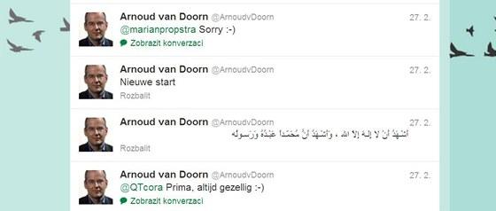 Arnoud van Doorn ozn�mil sv� p�ijet� isl�mu na soci�ln� s�ti Twitter.